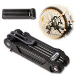 TONYON Fahrradschloss Faltschloss Kombinationsschloss Fahrrad Motorrad mit Rahmenhalterung Schwarz - DLYK1 165mm*65mm*48mm
